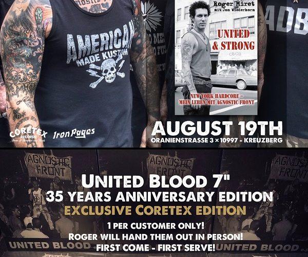 """Im Rahmen der Veröffentlichung der deutschen Version seiner Biografie """"UNITED & STRONG New York Hardcore: Mein Leben mit Agnostic Front"""" (24.08., IP Verlag) findet ab 16 Uhr ein Book Singning statt."""