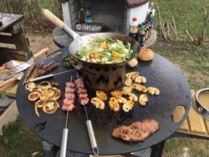 Kochen auf Stahlplatte