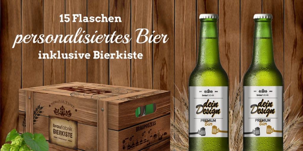 Personalisiertes Bier mit ansprechender Bierkiste in Holzoptik